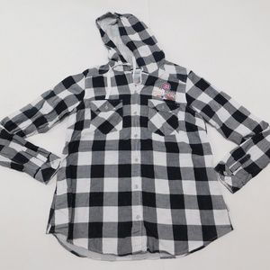 Columbia MLB Cubs M Gray Button Down Top Hooded Co